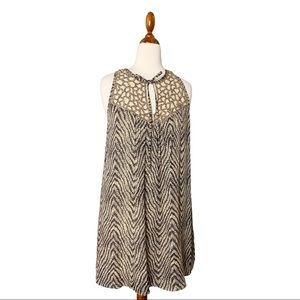 Parker Sequined Keyhole Printed Silk Tunic Tank S